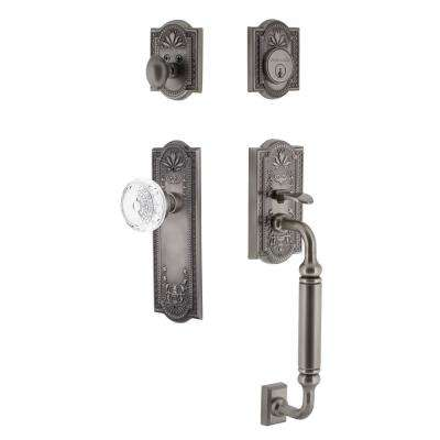 Meadows Plate 2-3/4 in. Backset Antique Pewter C Grip Handleset Crystal Meadows Door Knob