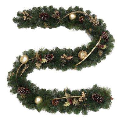 9 ft. Unlit Golden Holiday Artificial Garland