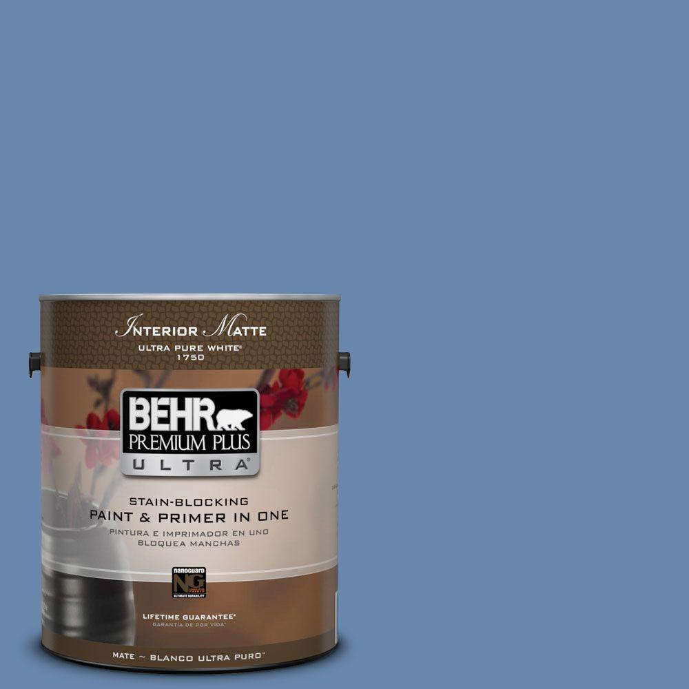 BEHR Premium Plus Ultra 1 gal. #M530-5 Cowgirl Blue Matte Interior Paint