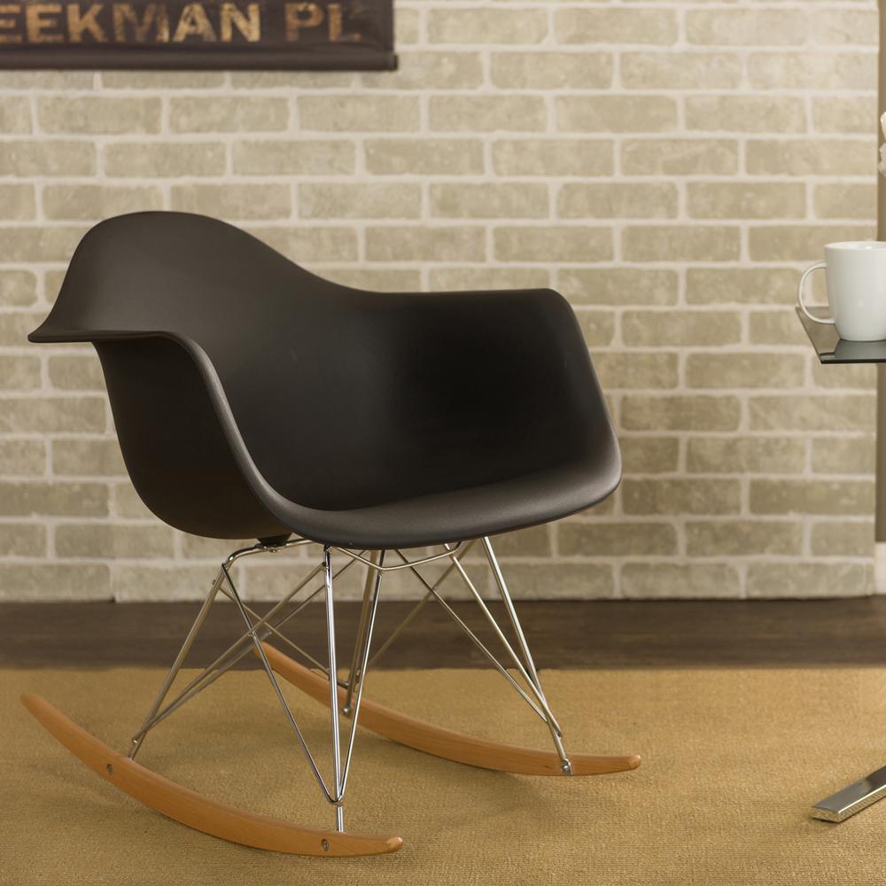 Dario Mid-Century Black Plastic Finished Rocking Chair