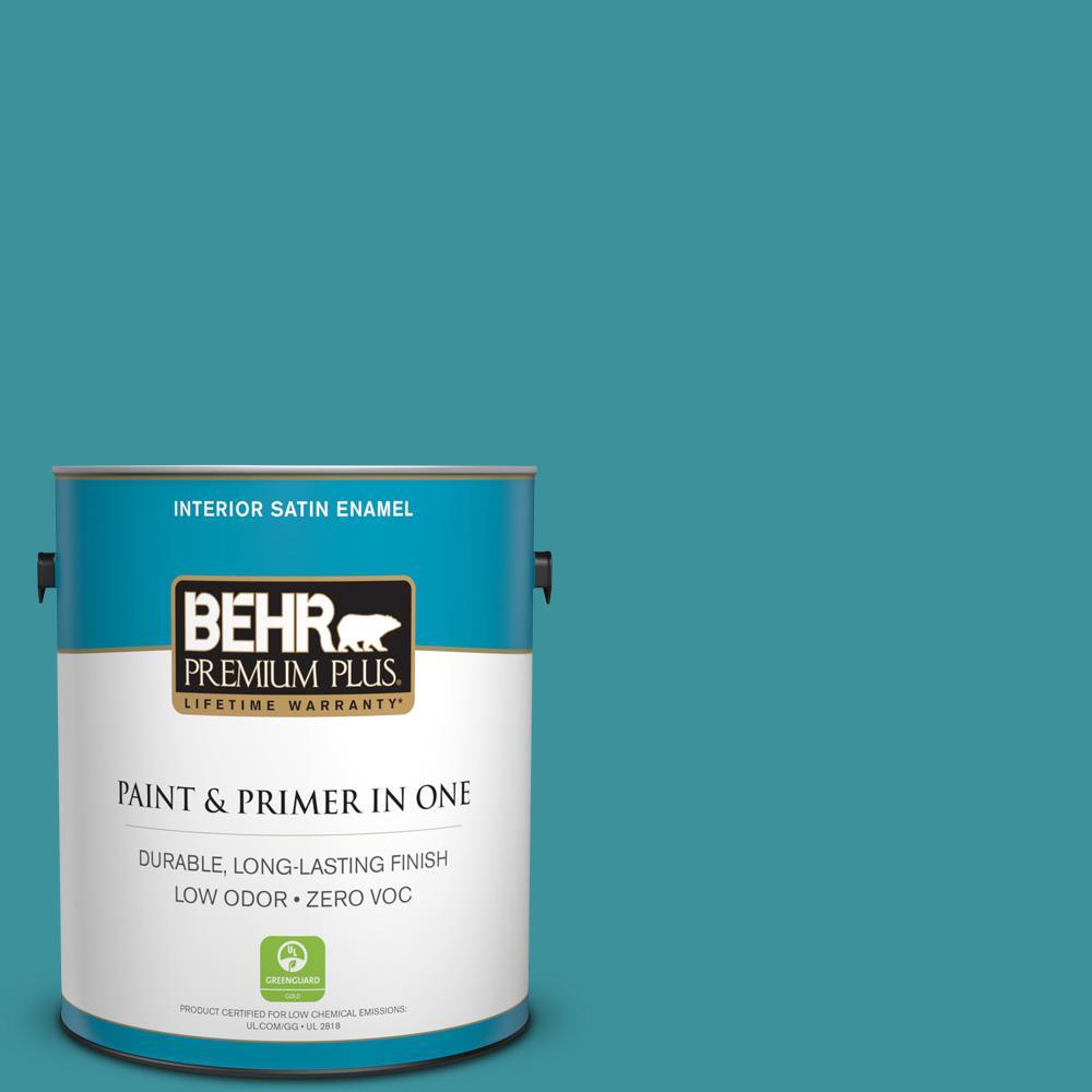 BEHR Premium Plus 1-gal. #520D-6 Lagoon Zero VOC Satin Enamel Interior Paint