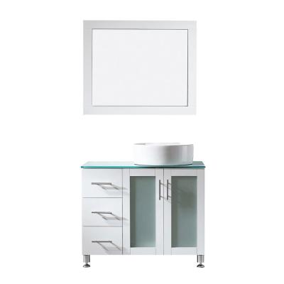 Tuscany 36 in. Vanity in White with Glass Countertop with White Vessel Sink With Mirror