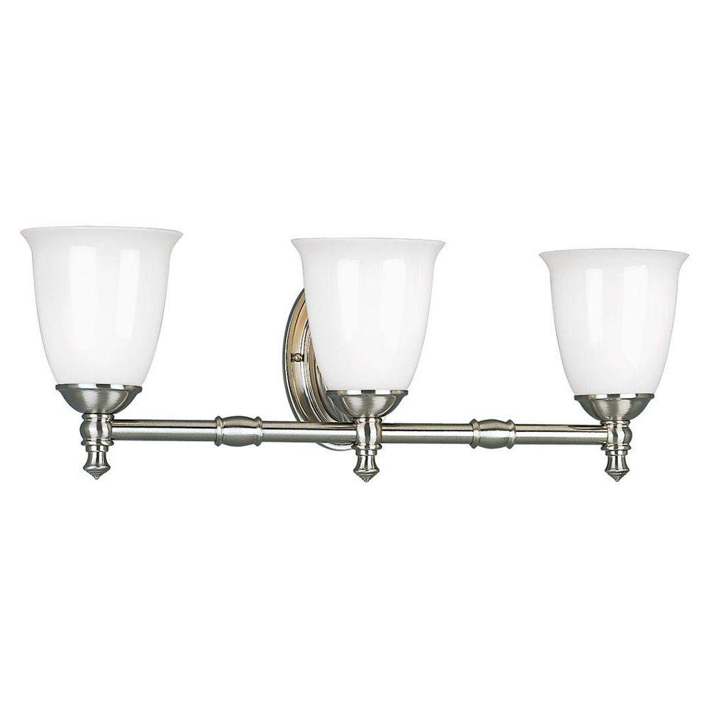 Progress Lighting Victorian Collection 3-Light Brushed Nickel Vanity Fixture