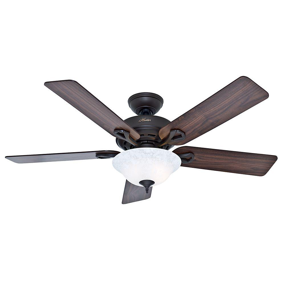 Indoor Bronze Ceiling Fan With Light Kit 53048 The Home Depot