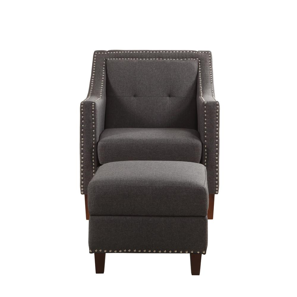 Gray Accent Chair with Storage Ottoman