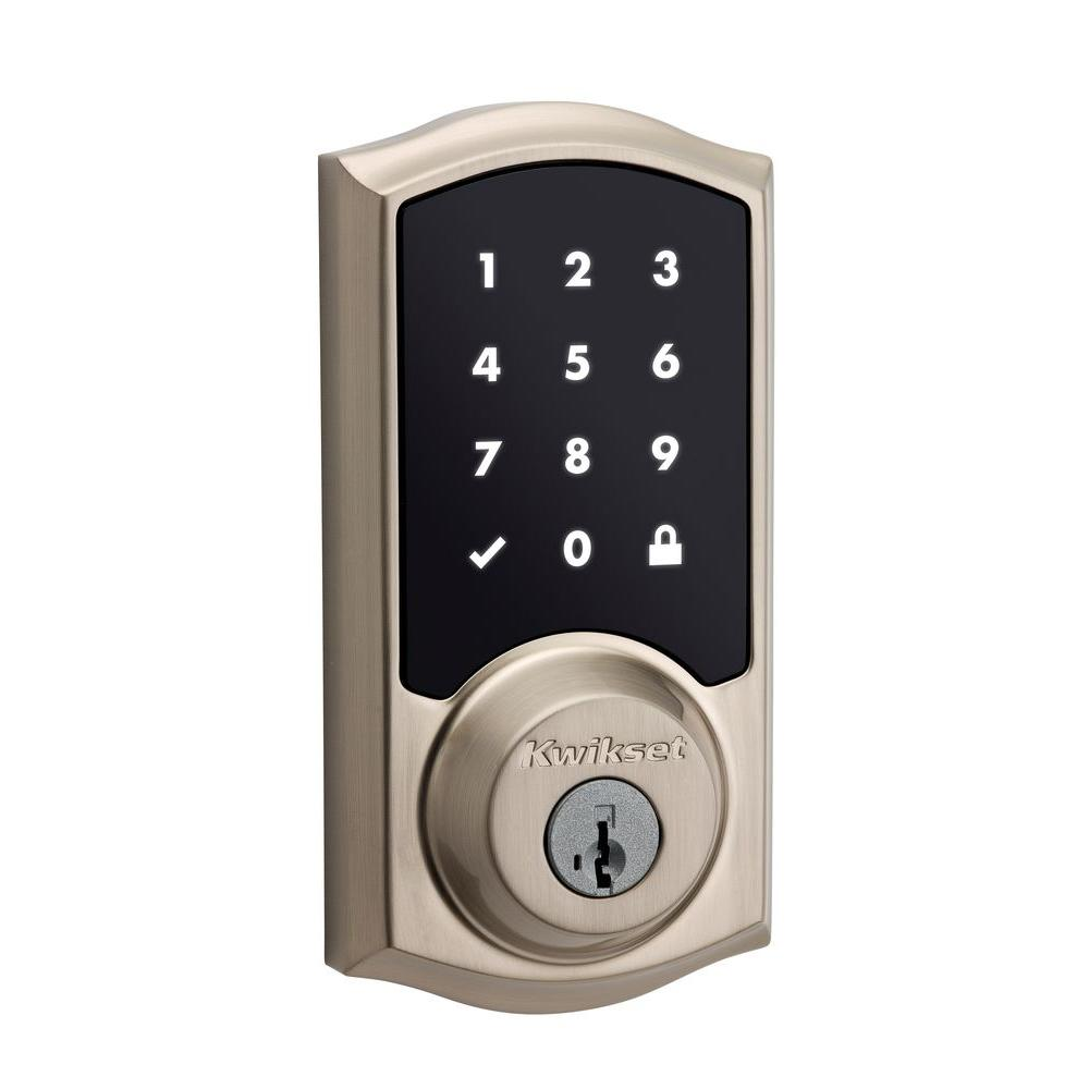 Kwikset SmartCode 915 Touchscreen Satin Nickel Single Cylinder Electronic  Deadbolt Featuring SmartKey Security
