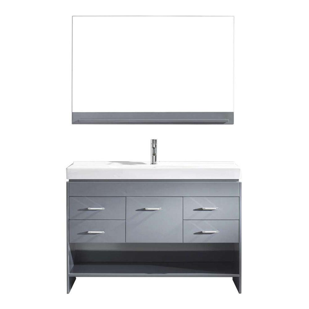 Virtu USA Gloria 48 in. W Bath Vanity in Gray with Ceramic Vanity Top in White Ceramic with Square Basin and Mirror and Faucet