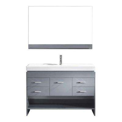 Gloria 48 in. W Bath Vanity in Gray with Ceramic Vanity Top in White Ceramic with Square Basin and Mirror and Faucet
