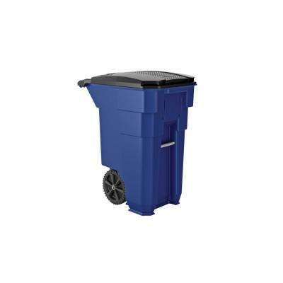 50 gal. Blue Plastic Curbside Commercial Trash Can with Wheels And Attached Lid