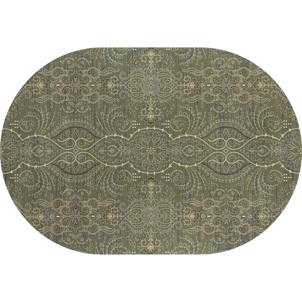 Art Carpet Maison Sparkler Light Green 7 ft. x 10 ft. Oval Area Rug