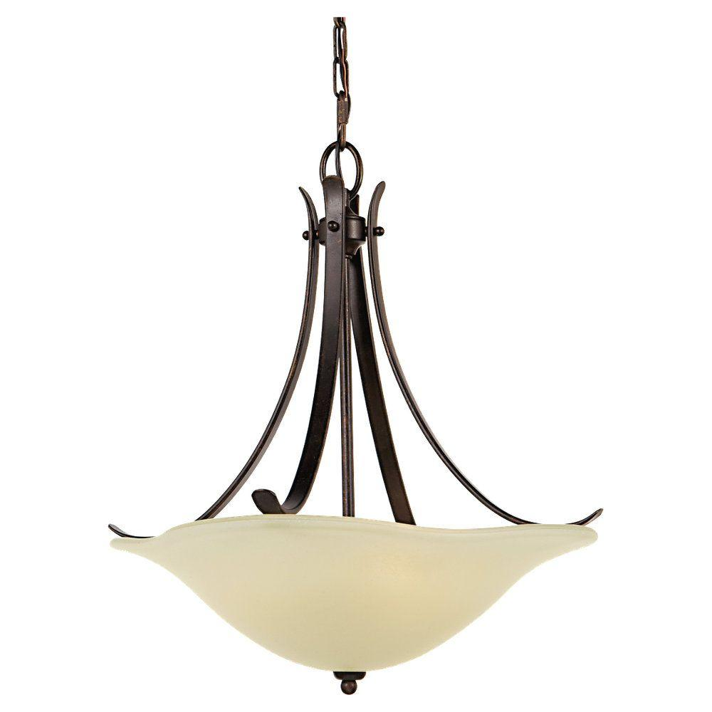 Morningside 3-Light Grecian Bronze Uplight Chandelier with Glass Shade