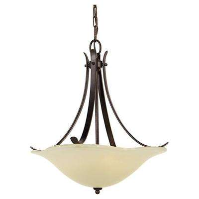 Morningside 18 in. W 3-Light Grecian Bronze Uplight Chandelier with Cream Opal Etched Glass