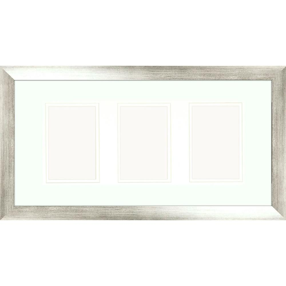 3-Opening 4 in. x 6 in. Matted Silver Photo Collage Frame