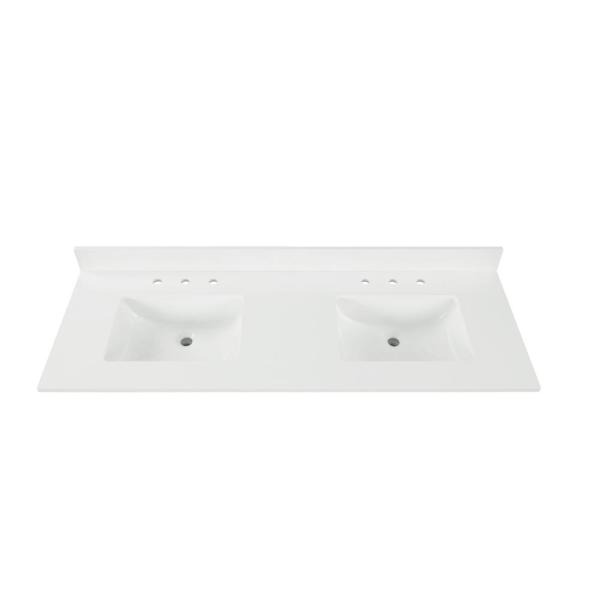 73 in. W x 22 in. D x 0.75 in. H Quartz Vanity Top in Snow White with White Basins