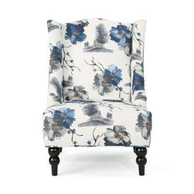Toddman Multi-Colored Floral Fabric High-Back Club Chair