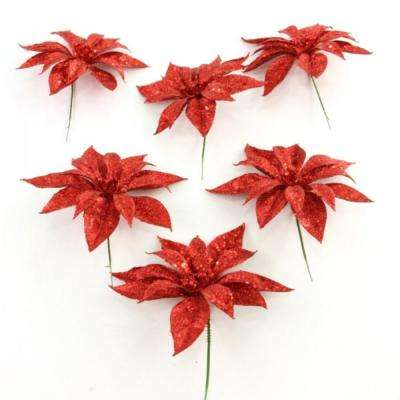 christmas unlit glitter poinsettia flower stem in red set of 6