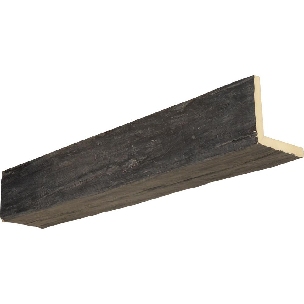 Ekena Millwork 10 In X 10 In X 10 Ft 2 Sided L Beam Riverwood Aged Ash Finish Faux Wood Beam Bmrw2c0100x100x120es The Home Depot