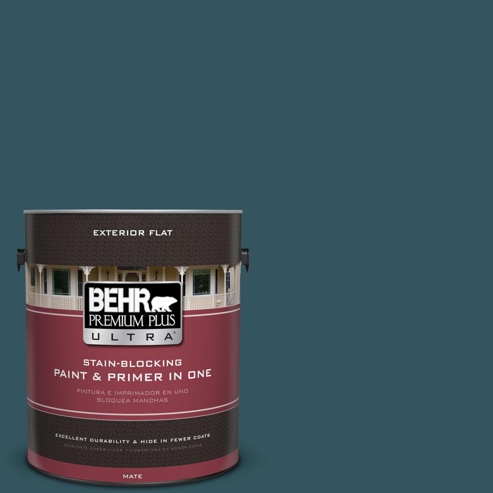 1 gal. #520F-7 Kingfisher Flat Exterior Paint