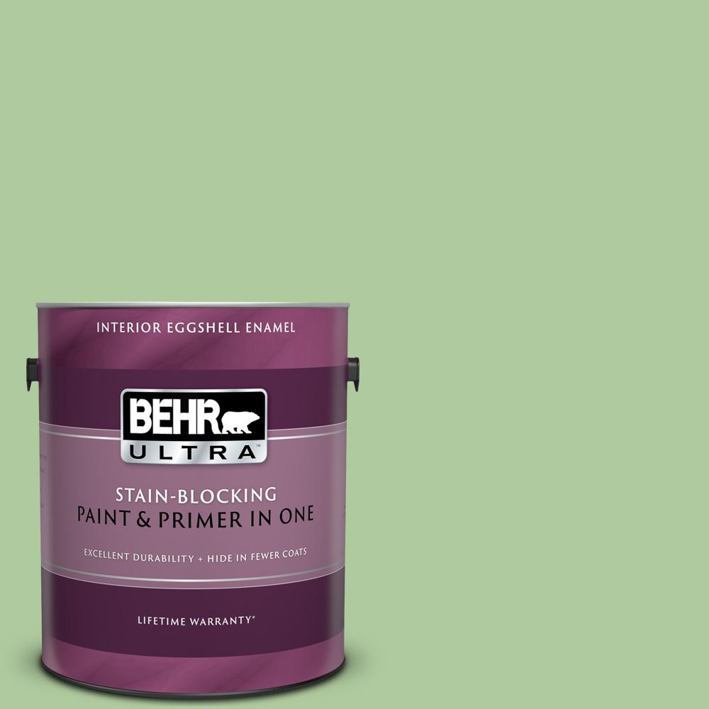 Behr Premium Plus 1 Gal 440d 4 Desert Cactus Eggshell Enamel Low Odor Interior Paint And Primer In