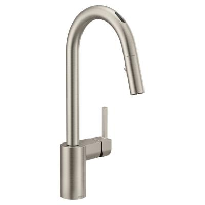 U by Moen Align Single-Handle Pull-Down Sprayer Smart Kitchen Faucet with Voice Control in Spot Resist Stainless
