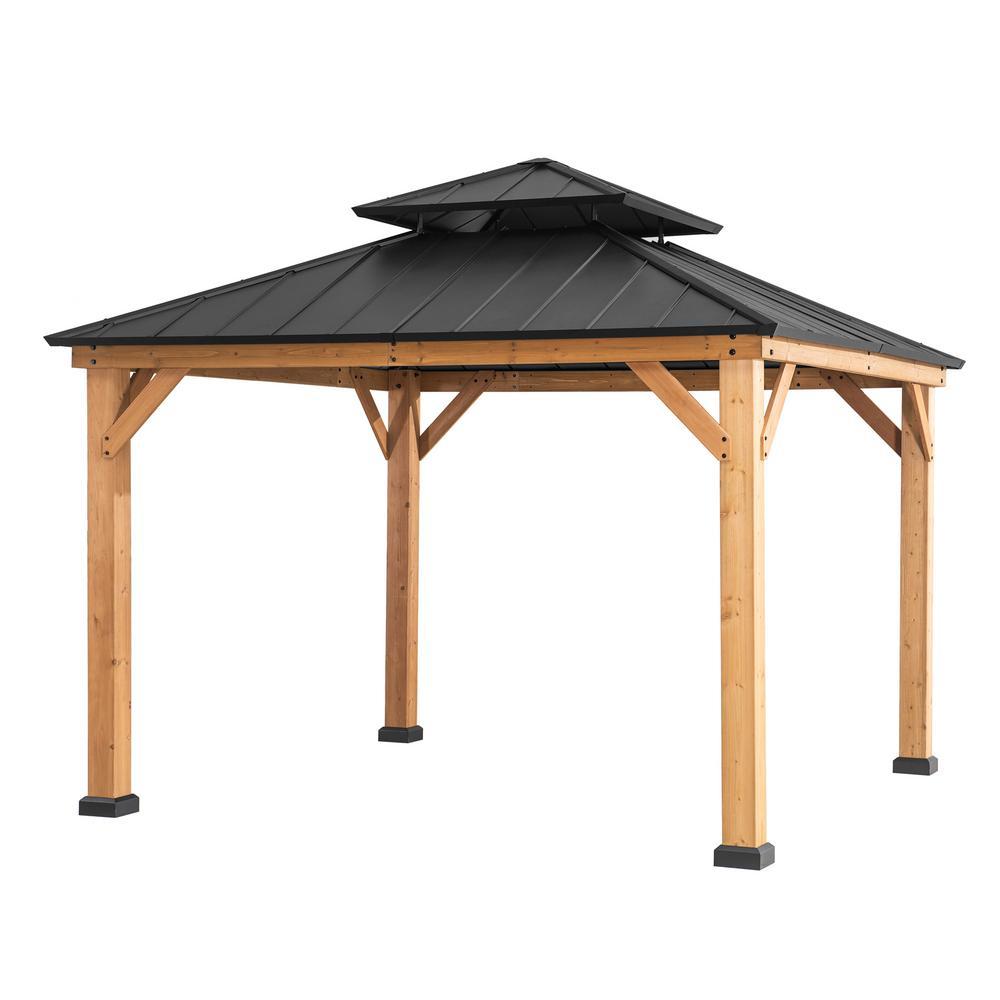 Archwood 10 ft. x 10 ft. Cedar Framed Gazebo with Steel Hardtop