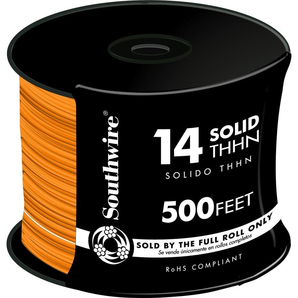 Southwire 500 ft. 14 Orange Solid CU THHN Wire-11585758 - The Home Depot