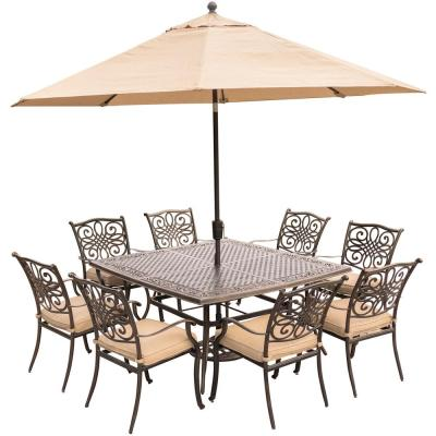 Traditions 9-Piece Aluminum Outdoor Dining Set with Square Cast-Top Table with Natural Oat Cushions, Umbrella and Base
