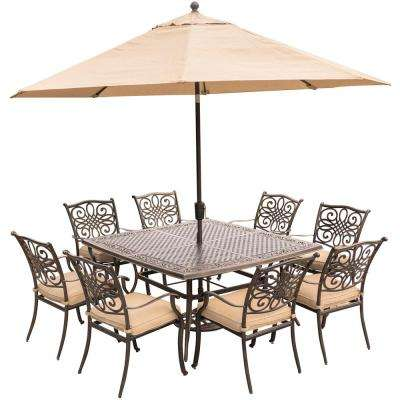 Traditions 9 Piece Aluminum Outdoor Dining Set With Square Cast Top Table Natural