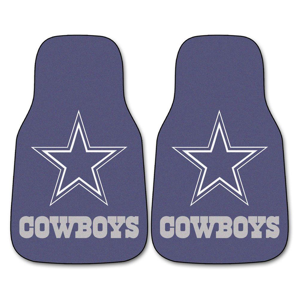 FANMATS Dallas Cowboys 18 in. x 27 in. 2-Piece Carpeted Car Mat Set