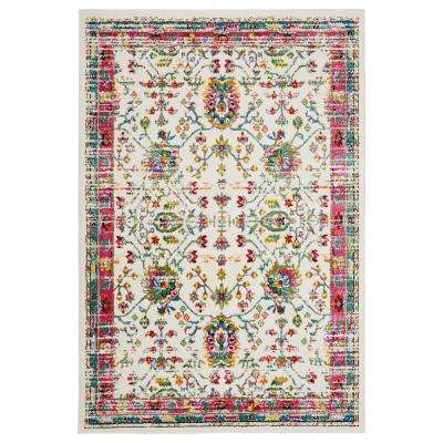 Fusion White / Blue 5 ft. 1 in. x 7 ft. 5 in Indoor Area Rug