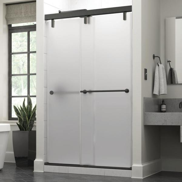 Everly 48 in. x 71-1/2 in. Mod Semi-Frameless Sliding Shower Door in Bronze and 3/8 in. (10mm) Niebla Glass