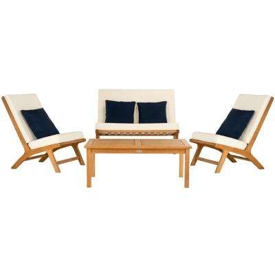 Chaston Natural 4-Piece Wood Patio Conversation Set with White Cushions