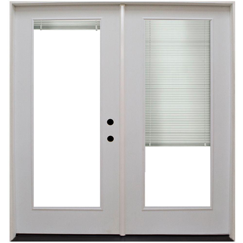 Steves & Sons 64 in. x 80 in. Primed White Fiberglass Prehung Left-Hand Inswing Mini Blind Patio Door