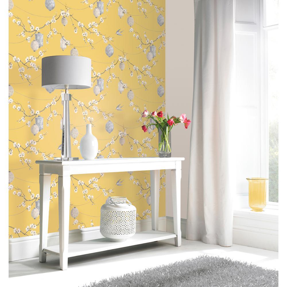 Chinese Garden Yellow Wallpaper