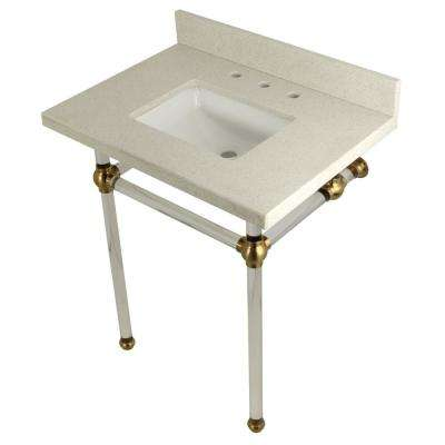 Square Washstand 30 in. Console Table in White Quartz with Acrylic Legs in Satin Brass