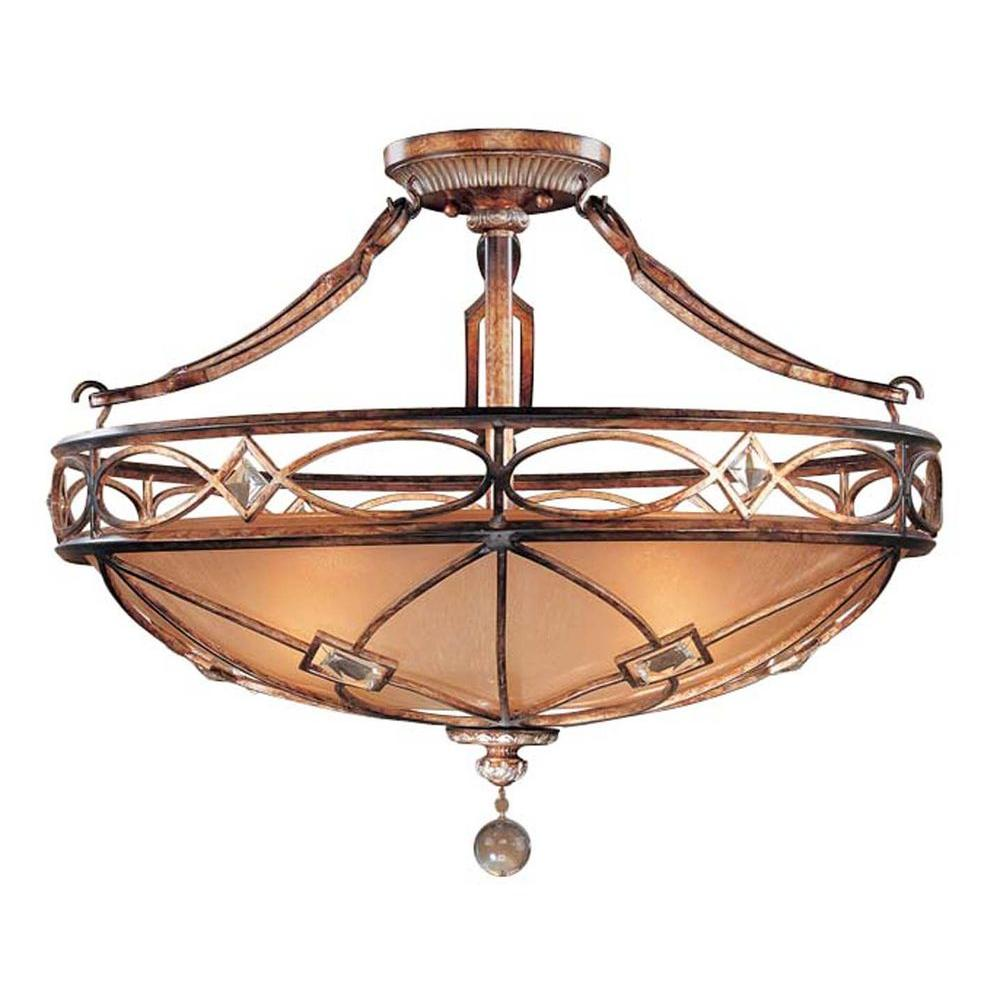 Aston Court 3-Light Bronze Semi-Flush Mount Light