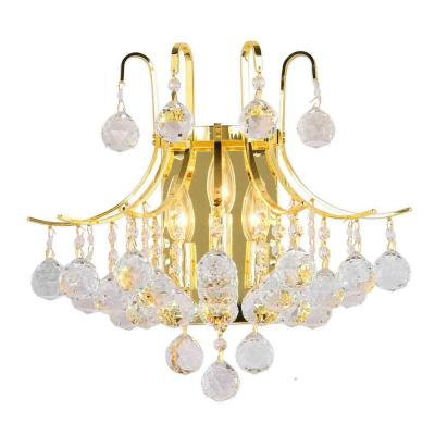 Empire Collection 3-Light Gold and Crystal Sconce