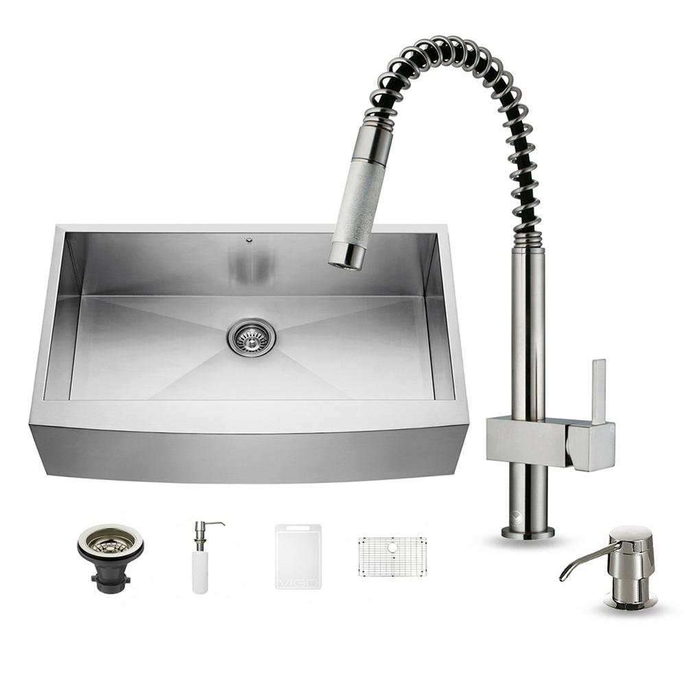 VIGO All-in-One Farmhouse Apron Front Stainless Steel 36 in. 0-Hole Single Basin Kitchen Sink and Faucet Set
