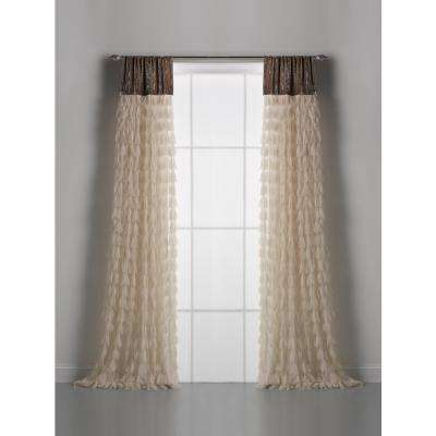 Chichi Ivory Cascading Tulle Petal/Silk Velvet Light Filtering Panel Window Curtain-18 in. W x 108 in. L (single panel)