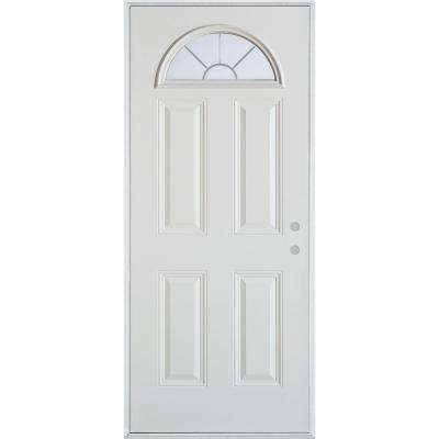 36 in. x 80 in. V-Groove Fan Lite 4-Panel Prefinished White Left-Hand Inswing Steel Prehung Front Door