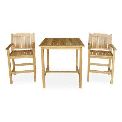 Baytown 3-Piece Wood Square Outdoor Bar Height Bistro Set