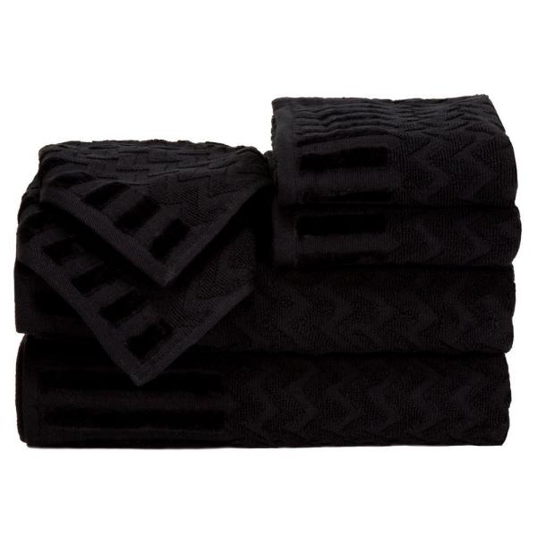 Lavish Home Chevron Egyptian Cotton Towel Set in Black (6-Piece) 67-0020-BL