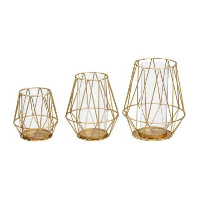 StyleWell Gold Metal Wire Hurricane Candle Holder (Set of 3)