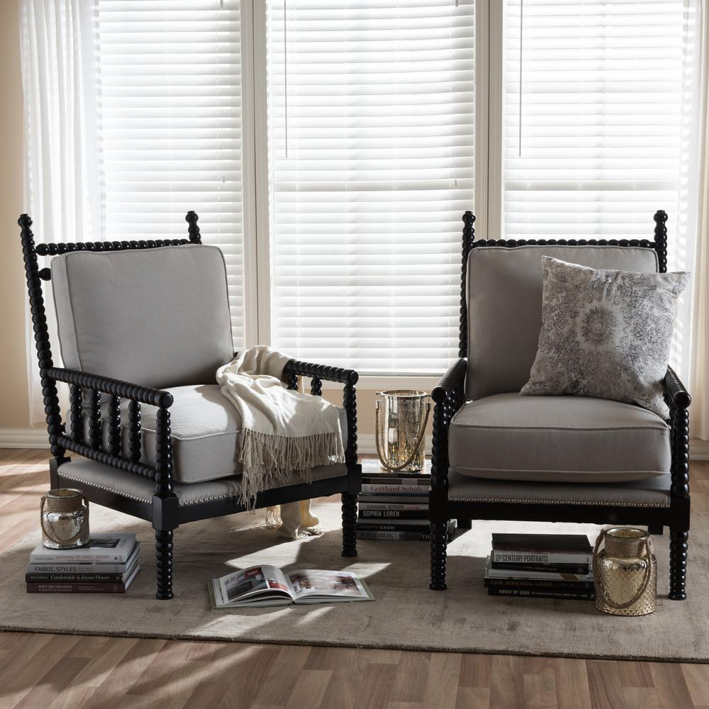 Baxton Studio Hillary Beige And Black Fabric Upholstered