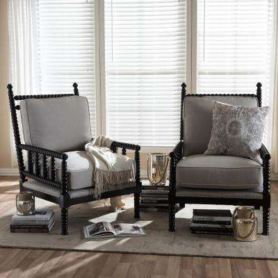 Hillary Beige And Black Fabric Upholstered Accent Chair