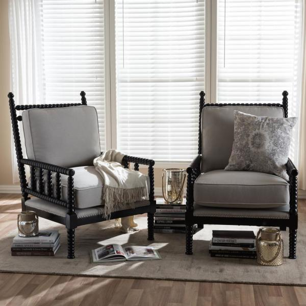 Baxton Studio Hillary Beige and Black Fabric Upholstered Accent Chair