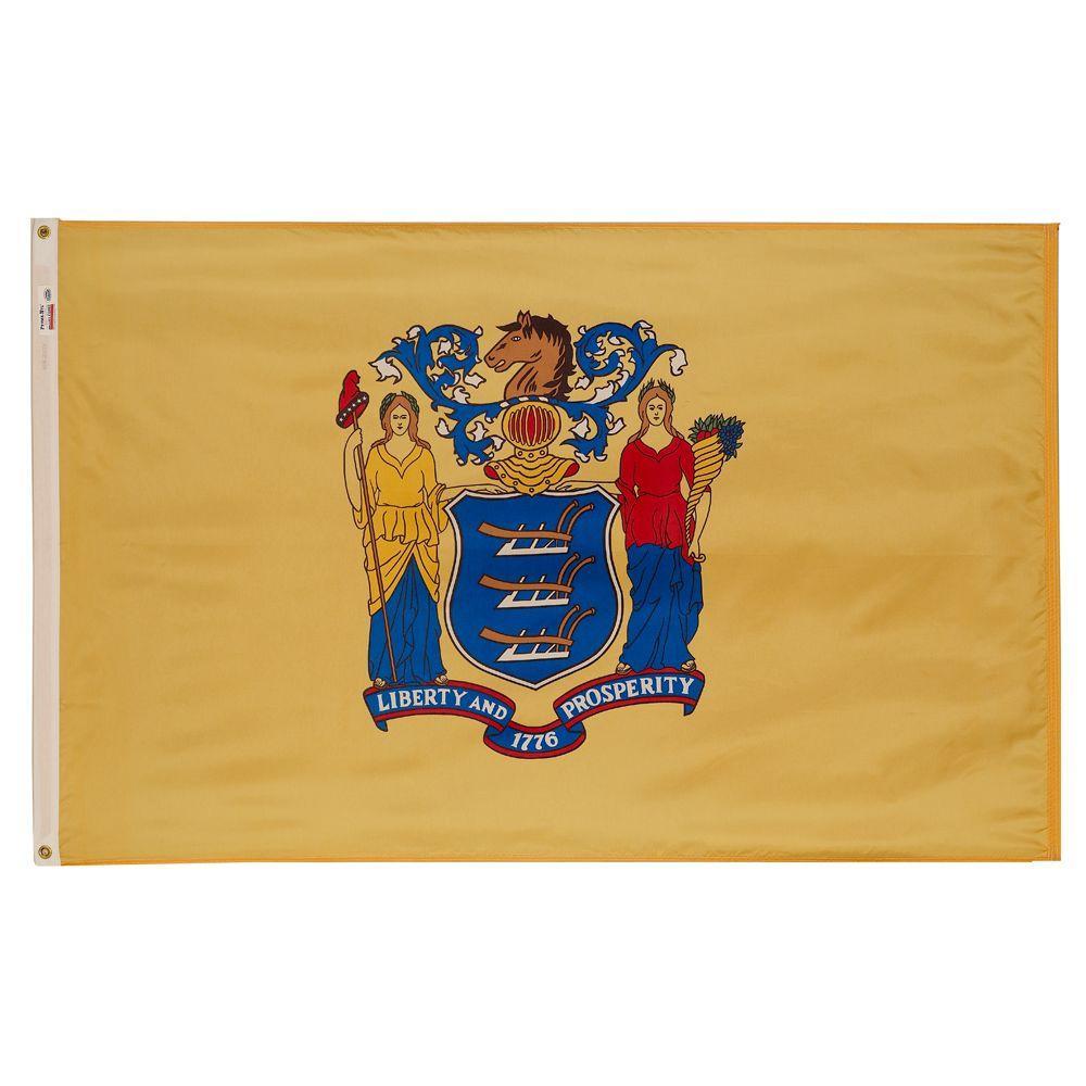 3 ft. x 5 ft. Nylon New Jersey State Flag