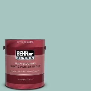 1 gal. #T17-08 Polished Aqua Matte Interior Paint and Primer in One