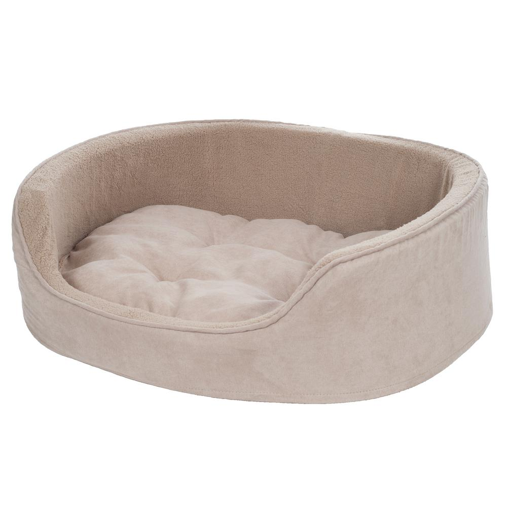 Extra-large Clay Cuddle Round Suede Terry Pet Bed