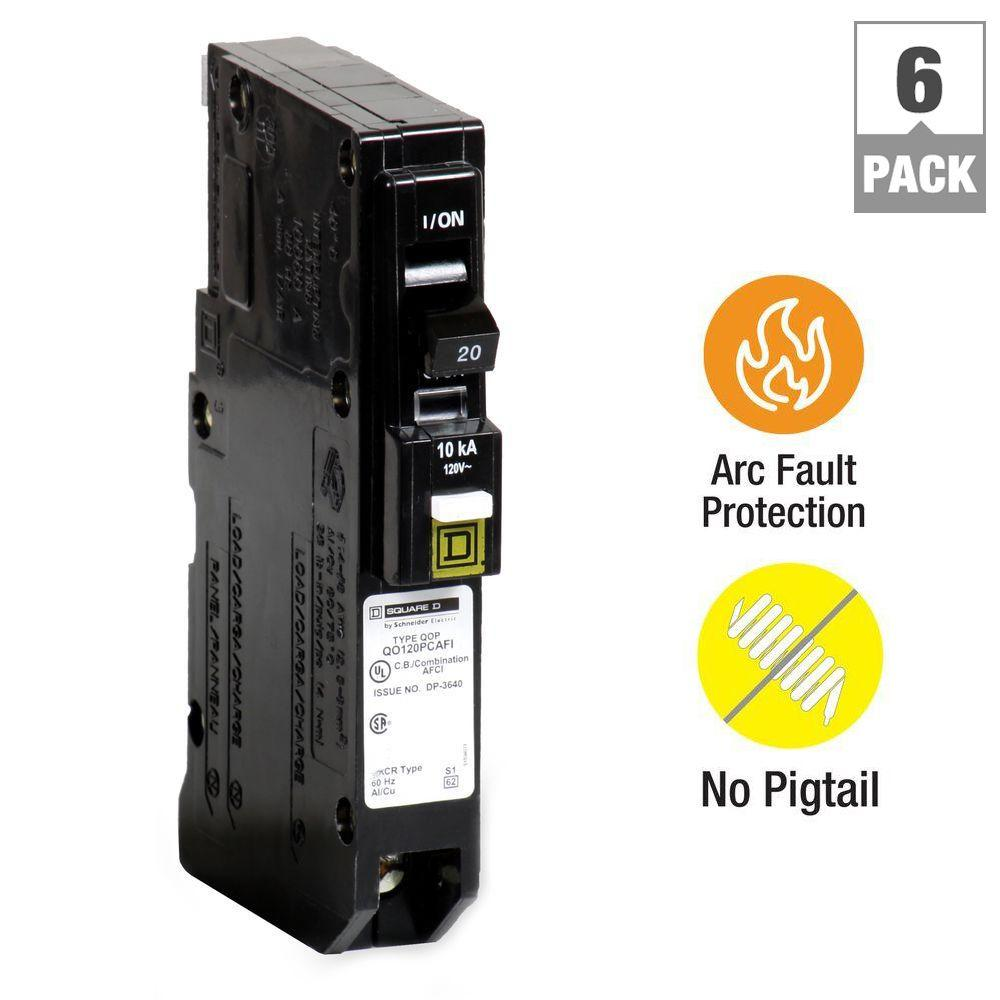 Square D QO 20 Amp Single-Pole Plug-On Neutral Combination Arc Fault ...